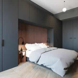 распашной шкаф в спальню серый