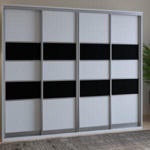 черно-белый четырехдверный шкаф купе