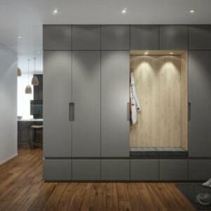 распашной шкаф серого цвета в прихожей